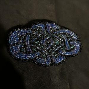 Celtic knot seed beaded purple black barette